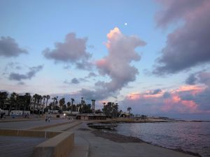 Sunset views paphos harbour